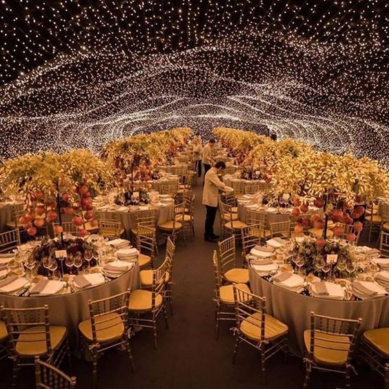 sznury lampek oświetlenie wesela